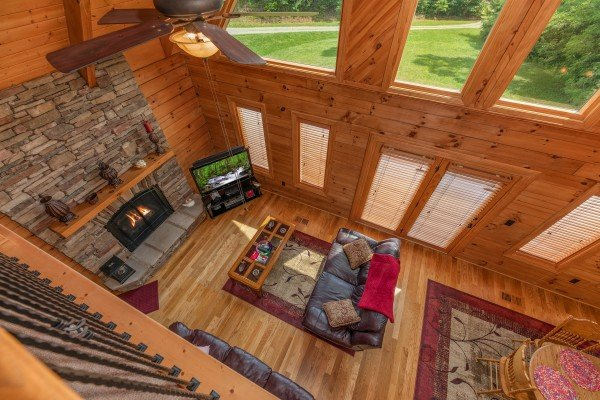Aerial living room view at Mountain Lake Getaway, a 3 bedroom cabin rental located at Douglas Lake