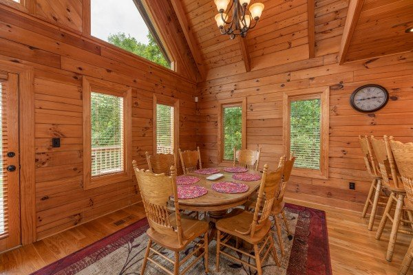 Dining table for six at Mountain Lake Getaway, a 3 bedroom cabin rental located at Douglas Lake