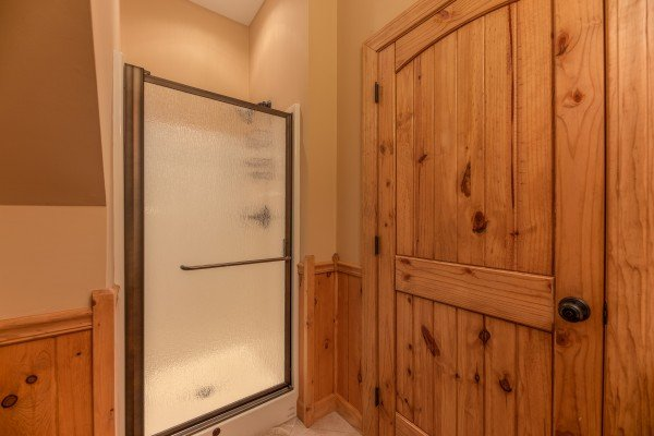 Walk in shower at Mountain Lake Getaway, a 3 bedroom cabin rental located at Douglas Lake