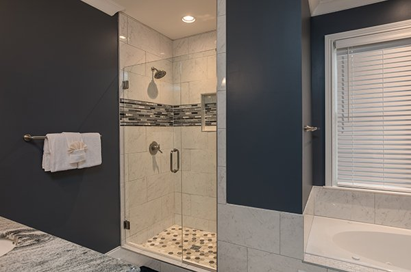 Separate shower in the master bathroom at Summit Glory, a 5 bedroom cabin rental located in Pigeon Forge