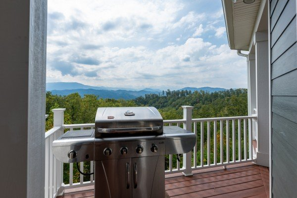 Grill on the deck at Summit Glory, a 5 bedroom cabin rental located in Pigeon Forge