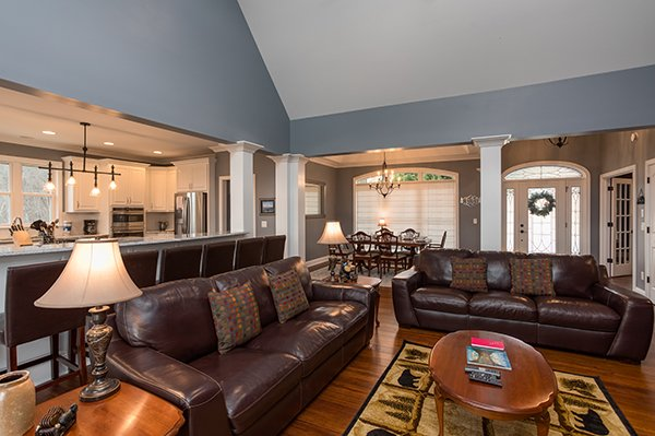 Living room with two sofas at Summit Glory, a 5 bedroom cabin rental located in Pigeon Forge