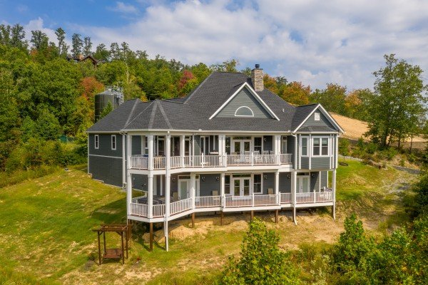 Drone exterior shot at Summit Glory, a 5 bedroom cabin rental located in Pigeon Forge
