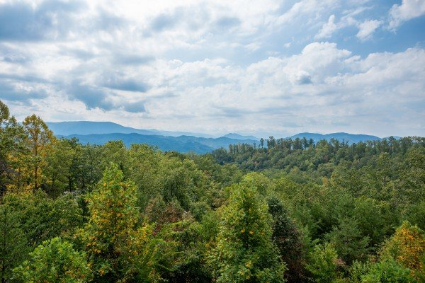 Mountain view in the summer at Summit Glory, a 5 bedroom cabin rental located in Pigeon Forge