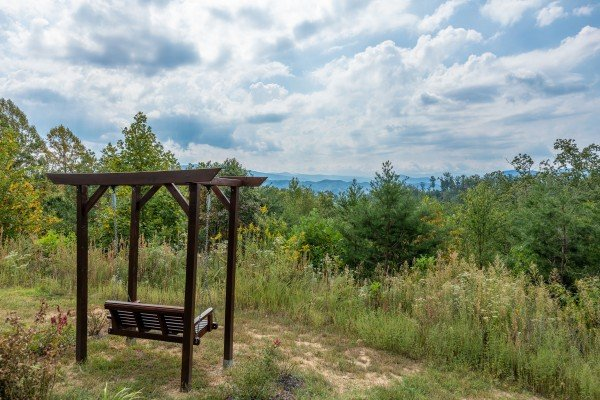 Swing with view at Summit Glory, a 5 bedroom cabin rental located in Pigeon Forge