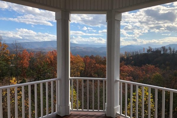 Fall colors viewed on the deck at Summit Glory, a 5 bedroom cabin rental located in Pigeon Forge