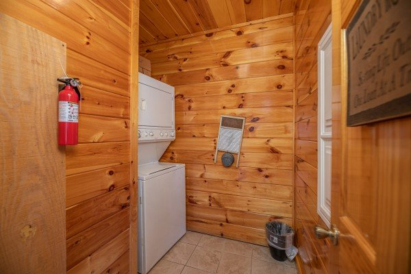 Laundry space at Hickernut Lodge, a 5-bedroom cabin rental located in Pigeon Forge