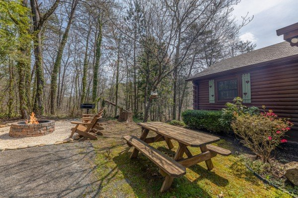 Fire pit and picnic table at Snuggle Inn, a 2 bedroom cabin rental located in Pigeon Forge
