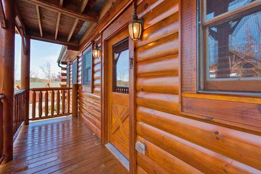 Entry door at Grand Timber Lodge, a 5-bedroom cabin rental located in Pigeon Forge
