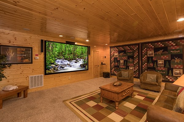 Projection screen in the theater room at Grand Timber Lodge, a 5-bedroom cabin rental located in Pigeon Forge