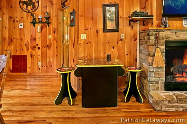 arcade game table at always together forever a 1 bedroom cabin rental located in pigeon forge