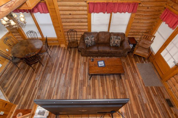 Living room from above at Starry Starry Night #725, a 2 bedroom cabin rental located in Pigeon Forge