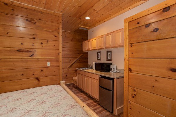Kitchenette in a bedroom at Starry Starry Night #725, a 2 bedroom cabin rental located in Pigeon Forge