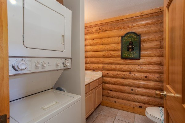 Laundry space in a bathroom at Starry Starry Night #725, a 2 bedroom cabin rental located in Pigeon Forge