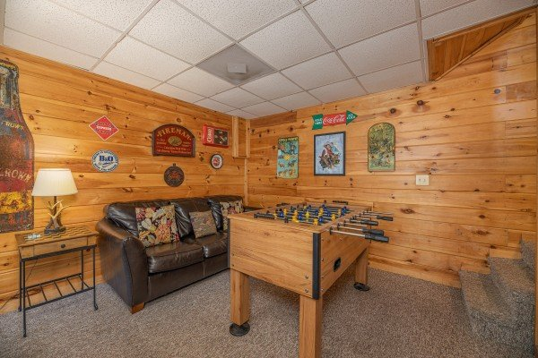 Foosball table at Fox Ridge, a 3 bedroom cabin rental located in Pigeon Forge