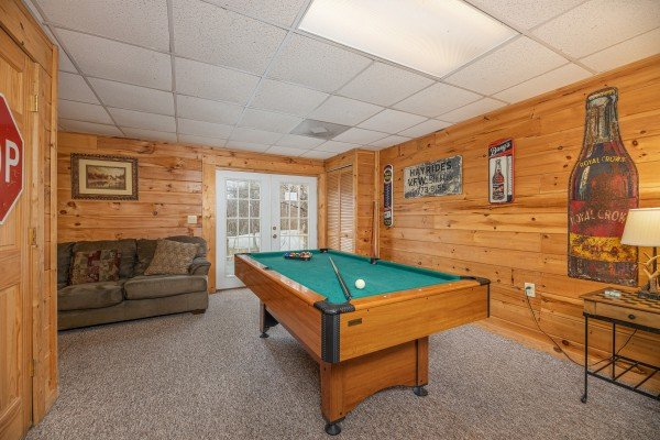 Pool table in the game room at Fox Ridge, a 3 bedroom cabin rental located in Pigeon Forge