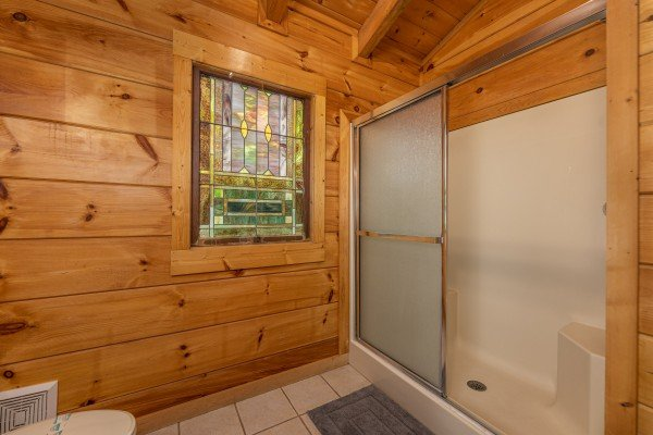 Bathroom with shower at Fox Ridge, a 3 bedroom cabin rental located in Pigeon Forge
