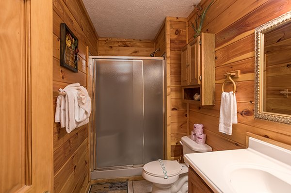 Bathroom with walk in shower at Bird's Eye View, a 2-bedroom cabin rental located in Gatlinburg