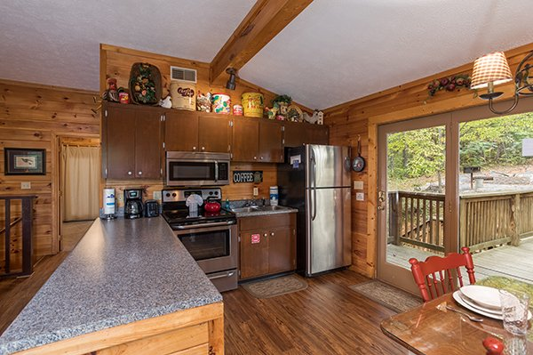 Kitchen with stainless steel appliances at Bird's Eye View, a 2-bedroom cabin rental located in Gatlinburg
