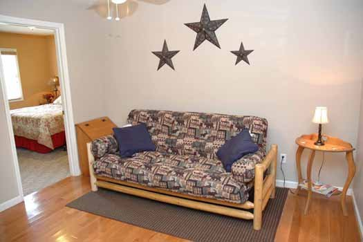 futon on second floor at heaven sent a 2 bedroom cabin rental located in pigeon forge