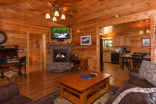 Fireplace And Tv In The Living Room At Rustic Romance A 2 Bedroom Cabin Al