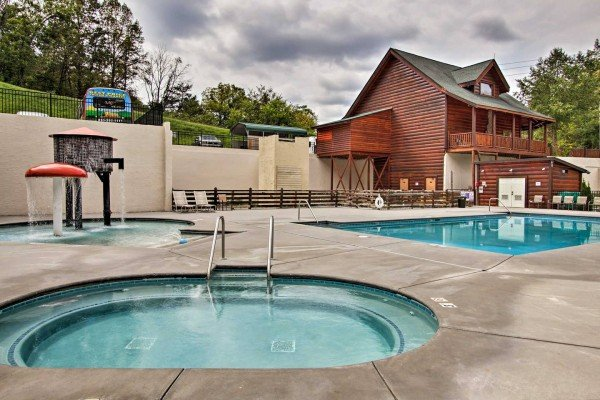 Resort pool for guests at Mountain Life, a 2 bedroom cabin rental located in Pigeon Forge