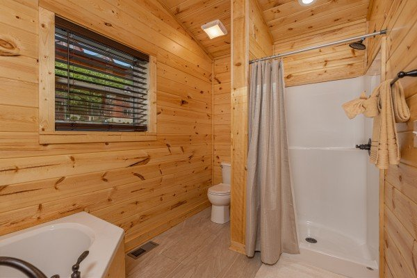 Walk in shower at Mountain Life, a 2 bedroom cabin rental located in Pigeon Forge