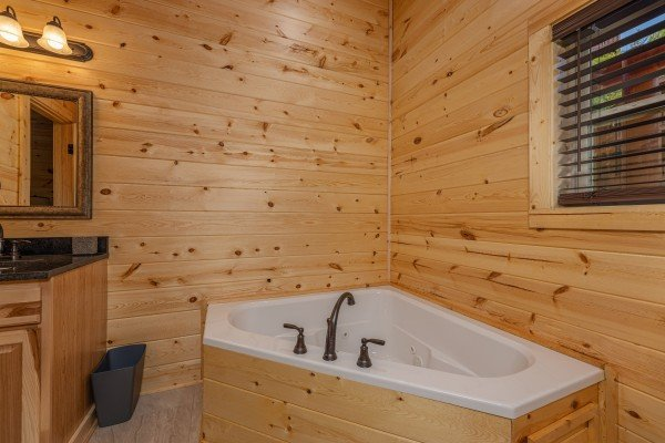 Jacuzzi in a bathroom at Mountain Life, a 2 bedroom cabin rental located in Pigeon Forge