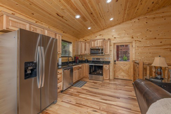 Kitchen with stainless appliances at Mountain Life, a 2 bedroom cabin rental located in Pigeon Forge