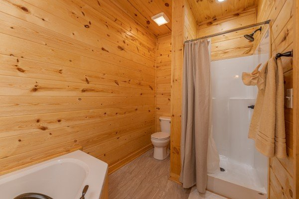 Walk in shower in a bathroom at Mountain Life, a 2 bedroom cabin rental located in Pigeon Forge