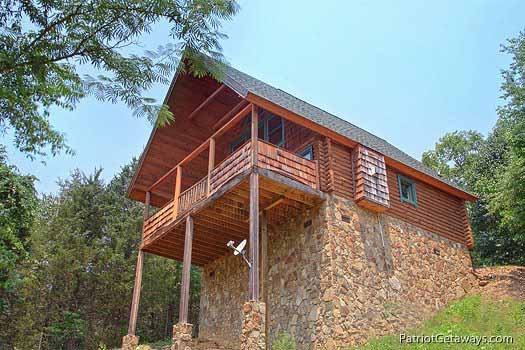 Exterior rear view at Swept Away, a 1 bedroom cabin rental located in Pigeon Forge