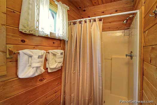 loft bathroom at swept away a 1 bedroom cabin rental located in pigeon forge