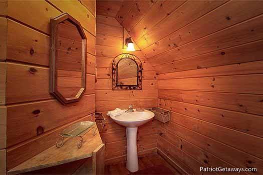 master bathroom at swept away a 1 bedroom cabin rental located in pigeon forge