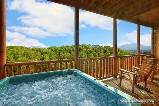 Hot tub at Majestic Mountain View, a 2 bedroom cabin rental located in Pigeon Forge