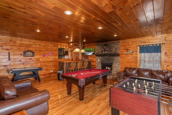Game room with pool table, foosball, and air hockey at 5 Star View, a 3 bedroom cabin rental located in Gatlinburg