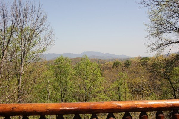 Mountain view with the leaves budding at Makin' Honey, a 1 bedroom cabin rental located in Pigeon Forge
