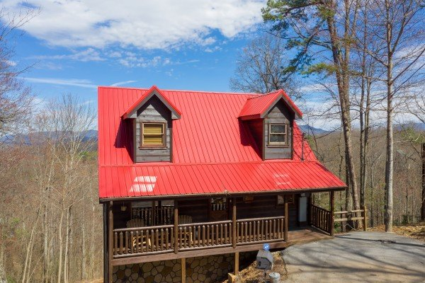Drone view front exterior at Makin' Honey, a 1 bedroom cabin rental located in Pigeon Forge