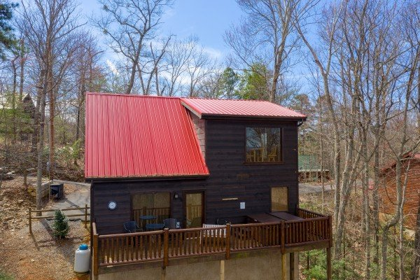 Rear drone exterior at Makin' Honey, a 1 bedroom cabin rental located in Pigeon Forge