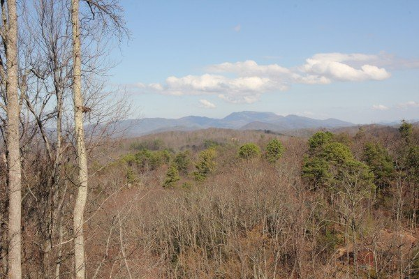 Winter mountain view at Makin' Honey, a 1 bedroom cabin rental located in Pigeon Forge