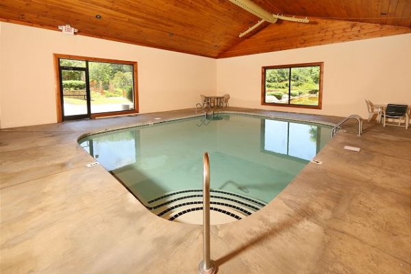 Indoor pool access at Little Chateau, a 1 bedroom cabin rental located in Pigeon Forge