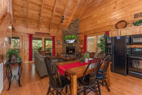 Dining area for six in the kitchen at Little Chateau, a 1 bedroom cabin rental located in Pigeon Forge