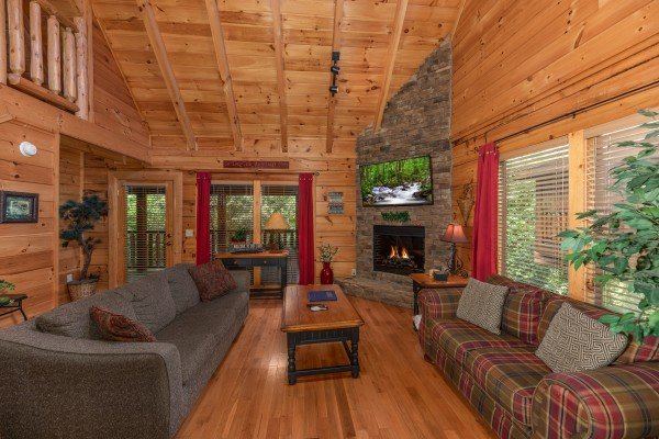 Living room with two sofas, fireplace, and TV at Little Chateau, a 1 bedroom cabin rental located in Pigeon Forge