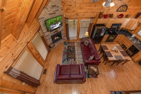 Looking down at the main floor from the loft at Azalea Point, a 2 bedroom cabin rental located in Pigeon Forge