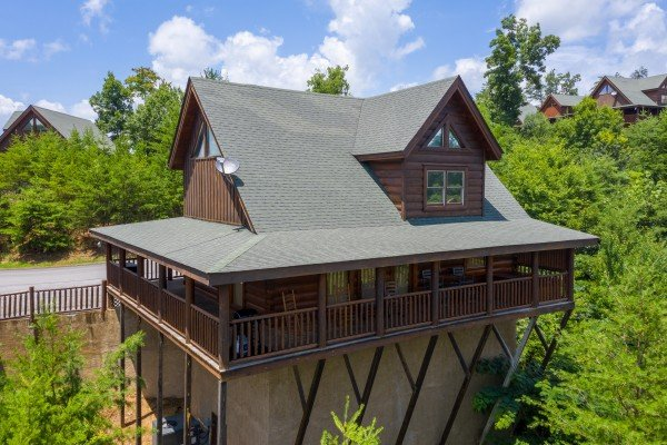 Drone view looking back at Azalea Point, a 2 bedroom cabin rental located in Pigeon Forge