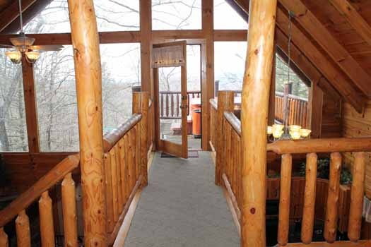 catwalk in the loft out to deck at bear bottom a 1 bedroom cabin rental located in gatlinburg