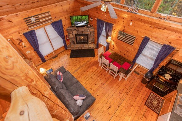 Looking down at the main floor from above at Patriot Inn, a 1 bedroom Gatlinburg cabin rental