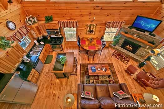 overhead view of living area at tree top lodge a 3 bedroom cabin rental located in gatlinburg