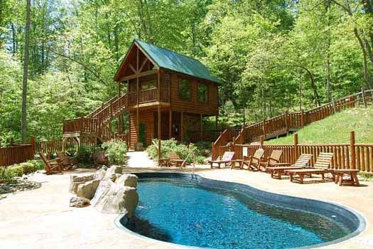 Resort pool at Tree Top Lodge, a 3 bedroom cabin rental located in Gatlinburg