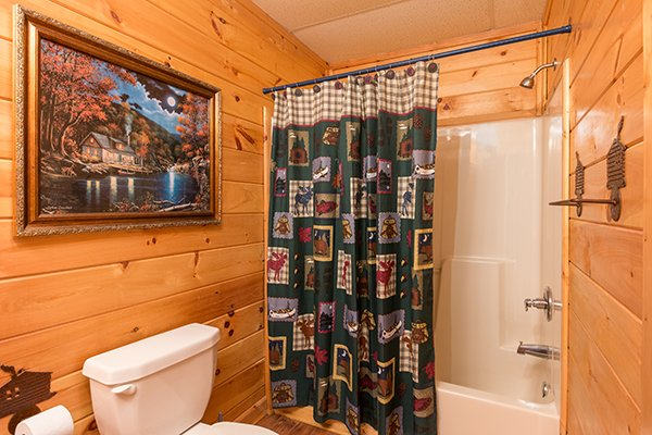 bathroom with tub and shower at animal kingdom a 4 bedroom cabin rental located in gatlinburg