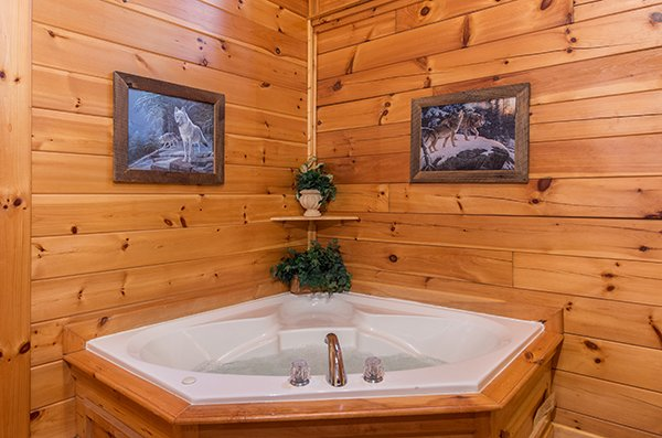 bathroom jacuzzi tub at animal kingdom a 4 bedroom cabin rental located in gatlinburg